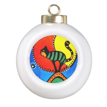 Cat and Moon Whimsical Cat Design Ceramic Ball Christmas Ornament