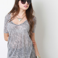 Mineral Dye Deep V-Neck High-Low Top