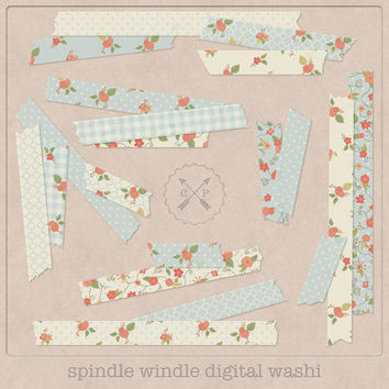 Blue digital Washi Tape Flowers. Slight transparent digital japanese tape shabby floral washi clipart perfect for scrapbooking card making