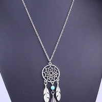 Silver Cut Out Coin And Turquoise Leaf Drop Long Necklace