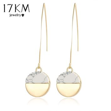 17KM Steampunk Earrings Geometric Gold Color White Stone Drop Earrings For Women Vintage Indian Long Pendant Dangle Earring