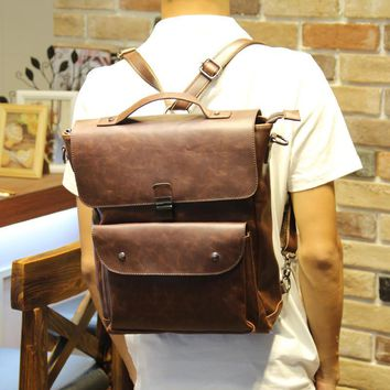 Vintage Men's Brown Laptop Bag Leather Backpack Travel Bag Daypack