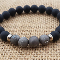 Geode Quartz Drusy Druzy Metallic Silvery Grey Bracelet Matte Black Onyx Men Bracelet Men's Beaded Bracelet Stretch Beaded Geode Bracelet