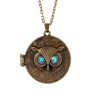 Blue Eye Owl Round Opening Locket Pendant Necklace