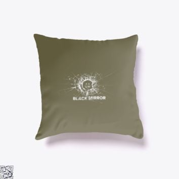 Broken Glass With Smiley Face, Black Mirror Throw Pillow Cover