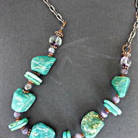 Amethyst and green chrysoprase gemstone and copper chain necklace.
