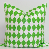 Green Pillow.18x18 inch Pillow Cover.Printed Fabric Front and Back.Harlequin Diamonds.Dominos.Chartreuse.Bright Green