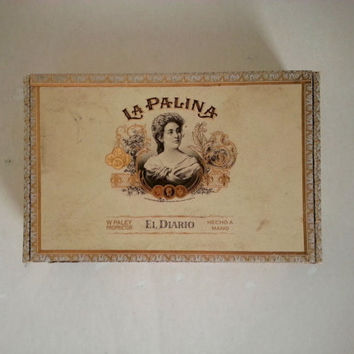 cigar box . box for assemblages . cigar boxes . supplies . craft supplies . La Palina cigar box . shabby wooden boxes