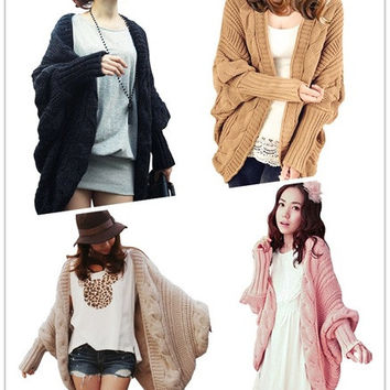 New Autumn Winter Women Knitted Sweater Batwing Cape Poncho Shawls Long Cardigan Coat Outwear = 1945683524