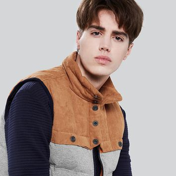 Men Patchwork Down Vest Autumn Winter Coats Vest Down Man Clothing