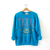 Vintage coed sweatshirt. Don't Mess With Texas Sweatshirt. Lone Star State Sweatshirt.