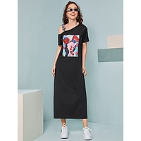 Asymmetrical Neck Figure Graphic Tee Dress