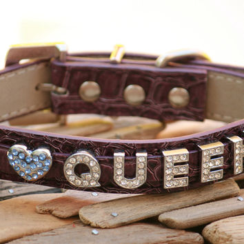 Purple Personalized gift, Leather dog collar, Rhinestone Name and a charm