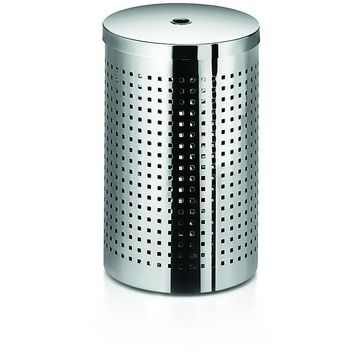 LB Round Trash Can Stainless Steel Wastebasket W/ Lid Cover, Polished Chrome