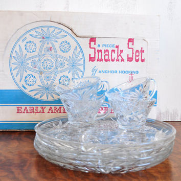 Vintage Pressed Glass Snack Sets, Anchor Hocking Early American Prescut Cup and Plate, With Original Box, Set of 4, EAPC