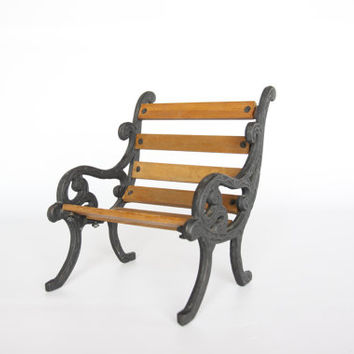 Antique cast iron and wood miniature bench, doll size art nouveau looking bench, vintage doll furniture, rustic wrought iron home decor