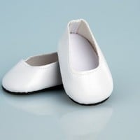 White Leather Dress Shoes - 18 Inch Doll Shoes