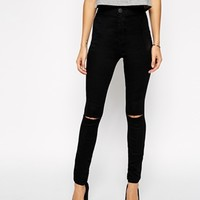 ASOS Rivington High Waist Denim Jeggings In Black With Ripped Knees at asos.com