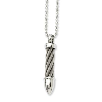 Stainless Steel Twisted Wire Bullet Necklace 24 Inch