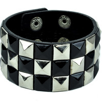 Black and Silver Pyramid Stud Wristband Gothic Jewelry Bracelet