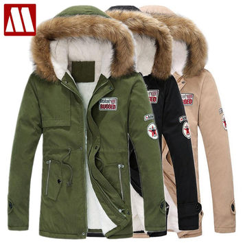Winter Casual Canada Men fur collar coat army green outwear coats military man jacket hombre winter jacket men Parka Coats