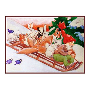 Elves Sledding with Forest Animals Holiday Christmas by Rudolf Koivu Counted Cross Stitch Pattern