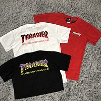 Thrasher 2019 new flame letter logo print round neck half sleeve t-shirt