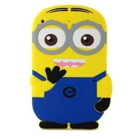 3D Cute Cartoon Despicable Me 2 Minion Rubber Case Cover Fun for Ipad Mini 1 2 (Blue)