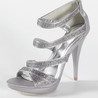 High Heel Multi Strap Sandal with Zipper Back