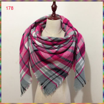 ZA  Brand desigual plaid Tartan Scarf Women cuadros Fashion Scarves Blanket Soft Cashmere Winter Scarf warm Square Plaid Shawl