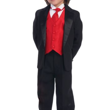 Boys Black One-Button Tuxedo w. Vest & Necktie Color Choice 3m-14
