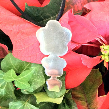 Handmade, sterling silver  three flower pendant with suede cord, silver 925