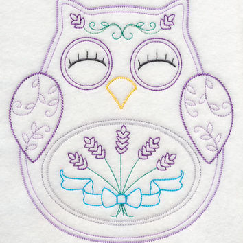 Owl with Lavender Vintage Styled EMBROIDERED Women's Apron Great Mother's Day Gift