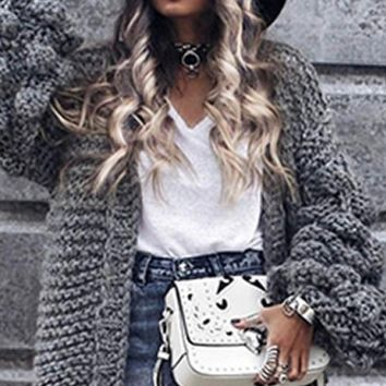 Desert Bound Long Lantern Sleeve Chunky Knit Oversized Open Cardigan Sweater - 2 Colors Available