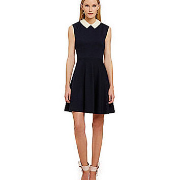 Betsey Johnson Pearl Collar Fit-and-Flare Dress - Navy/Ivory