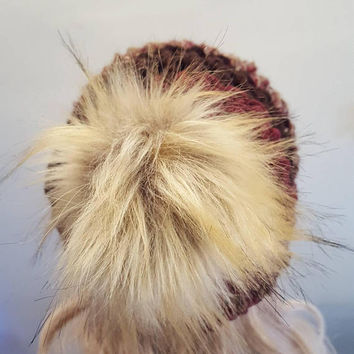 Burgundy and browns fury pom pom hat. Made by Bead Gs on ETSY. Chunky