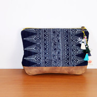 Batik indigo pouch, clutch, Hmong hilltribe design handbag, handmade natural dye fabric and leather pouch, with tassels. Ready to ship