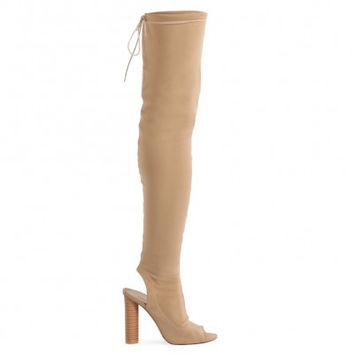 SIDNEY PEEPTOE SOCK FIT BOOTS IN NUDE
