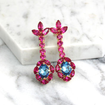 Pink Earrings, Pink Fuchsia Earrings, Blue Pink Earrings, Bridal Fuchsia Earrings, Statement Earrings, Dark Pink Earrings,Pink Drop Earrings