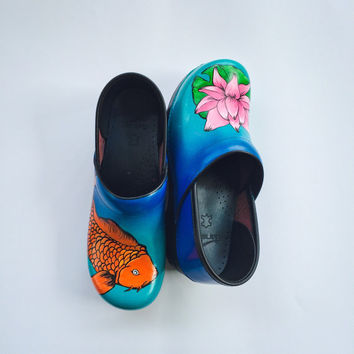 Koi and Lotus Custom Painted Danskos