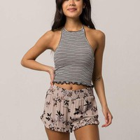 SKY AND SPARROW Floral Ruffle Womens Shorts