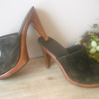 vintage Chocolate Brown Leather suede PLATFORM HEELS ... wood and suede mules