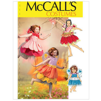 Girls Flower Fairy Costumes Sizes 6 to 8, Uncut McCalls 6813, Little Girls Fairy Costume Pattern, Tutu Pattern, Flower Girl Dress Pattern