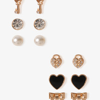 Heart Key & Bow Stud Set