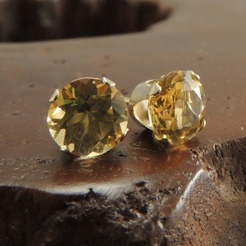 Citrine Solid 14k Gold Studs, Gold Stud Earrings, Post Earrings, 6mm Studs Handmade Earrings, Prong Earrings, November Birthstone