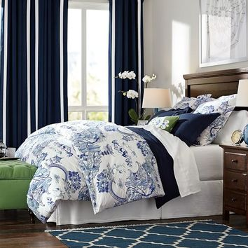 Darcy Toile Organic Duvet Cover & Sham - Twilight