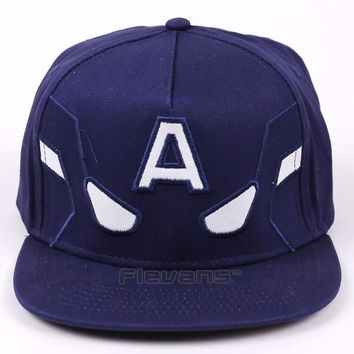 Trendy Winter Jacket 2017 Marvel Avengers Captain America Men Women Baseball Cap Snapback Printing Hip Hop Hats Quality Cotton Caps Bone AT_92_12