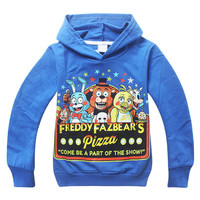 Five Nights at Freddy's Hooded long-sleeved 2 color T-shirt Children baby boy sport clothes 2015 New kids t shirt Free shipping