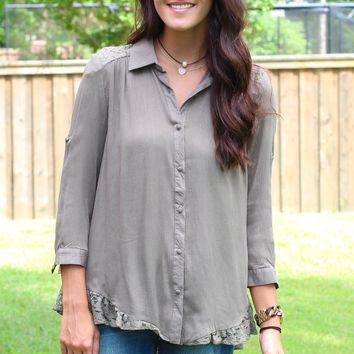A Splice of Lace Button Down Blouse {Olive}