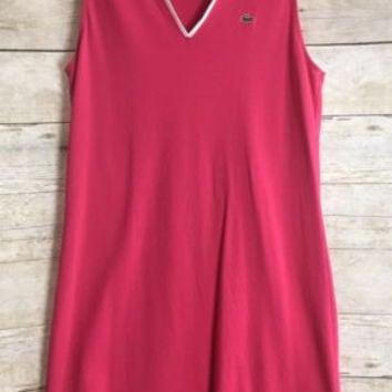Lacoste Size 36 SM Deep Pink Dress Polo Style Sleeveless